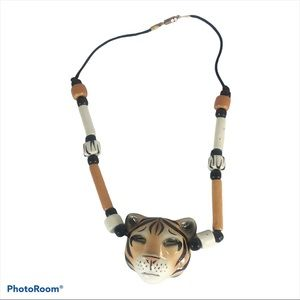 Bengal Tiger Beaded Necklace Hand Painted Ceramic